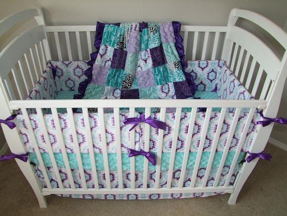 Purple Aqua Nursery Set Purple Nursery Bedding Purple Teal