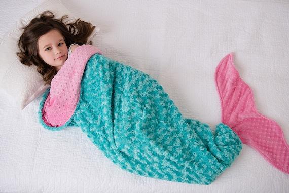 Personalized Minky Baby Blanket Mermaid Blanket Teal Wave /& Salmon Minky