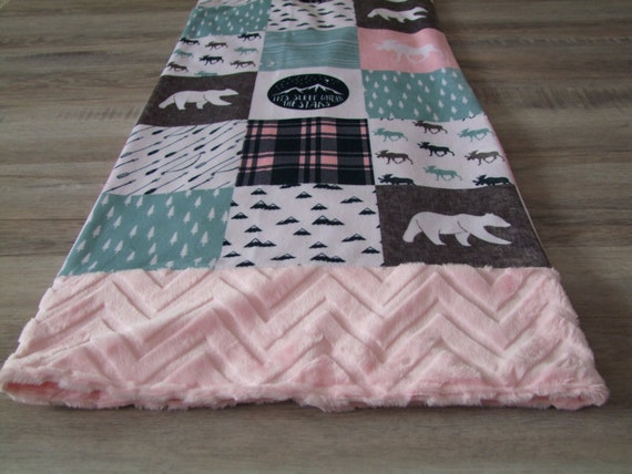 Happy Camper Minky Blanket Girl Happy Camper Bedding Pink