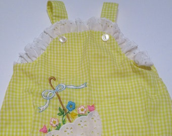 Vintage Yellow Gingham Baby Romper Sunsuit