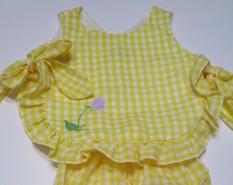 Vintage Yellow Gingham Baby Sunsuit and Bloomer-JC Penny-Toddletime
