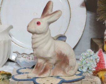 Vintage Paper Mache Easter Decoration-Candy Container-Paper Pulp-Old-Bunny-Rabbit-Decoration-PINK