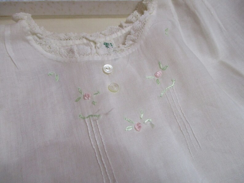 Vintage Baby Dress-Bishop-Embroidered-Christening-Embroidery-Size 9 months-with slip and Bib-All matching-UNUSED