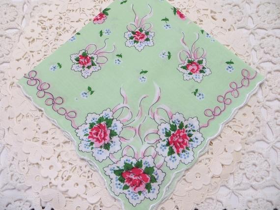 Vintage Ladies Handkerchief-Hankie-Hanky-Floral-1950/'s-UNUSED