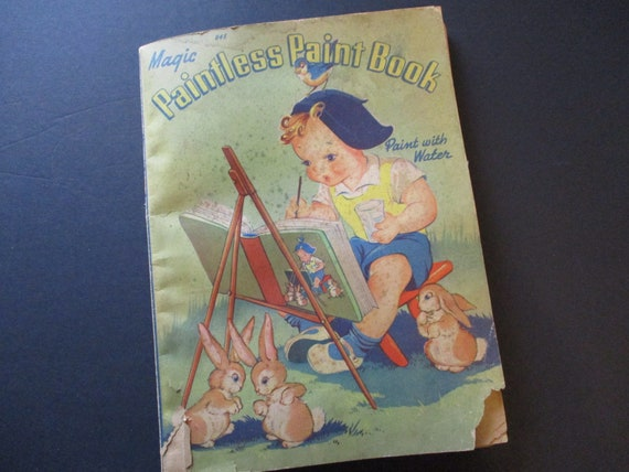Vintage Whitman Color Paint Book-1940's-Amazing Illustrations and Graphics