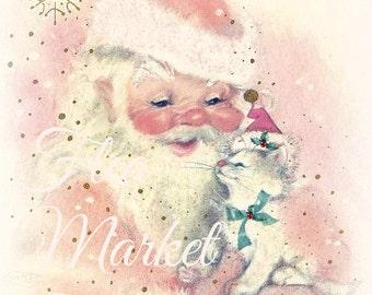 Mid Century Christmas Image-SANTA and Kitty-Shabby-Chic-Retro-Christmas Gift Tags