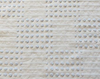 Morgan Jones Vintage Chenille Bedspread Fabric Fat Quarter-Craft-Sewing-Baby Blue Dot-Dash-MINT