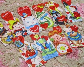 Vintage Children's Valentine Day Cards Lot-Ephemera-Mixed Media-Paper-Crafts-Scrap Booking-UNUSED-Set of 10