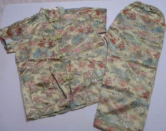 Vintage Childrens Chinese Costume-Shirt and Pants-Peony Brand-Shanghai China-Retro-Mid-Century-Clothing-Sz 8