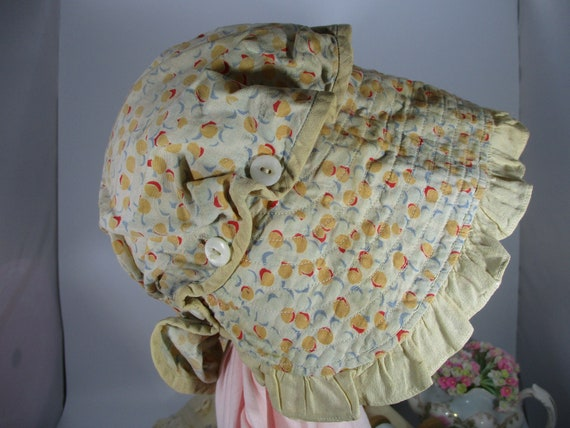 Antique Ladies Bonnet-Prairie-Rustic-Feedsack-hoop