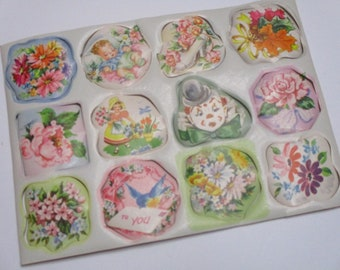 Vintage Gift Wrap Seals-Baby-Children-Shower-Pastels-Retro-Mid Century-1 Sheet-12 seals