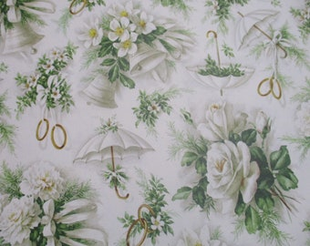Vintage Hallmark Gift Wrap-Wrapping Paper-Bride-Wedding-Roses-Shower-Pastels-Retro-Mid Century-Full Sheet-Wrapping Paper