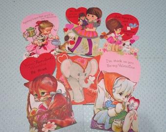 Vintage Children's Valentine Day Cards Lot-Ephemera-Mixed Media-Paper-Crafts-Scrap Booking-UNUSED-Set of 7