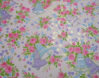 Vintage Norcrest Gift Wrap-Wrapping Paper-Bride-Wedding-Roses-Shower-Pastels-Retro-Mid Century-Full Sheet-Wrapping Paper