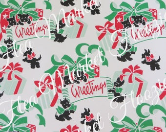 Gift Wrap-Wrapping Paper-Christmas-Children-Scottie Dogs-Retro-Mid Century