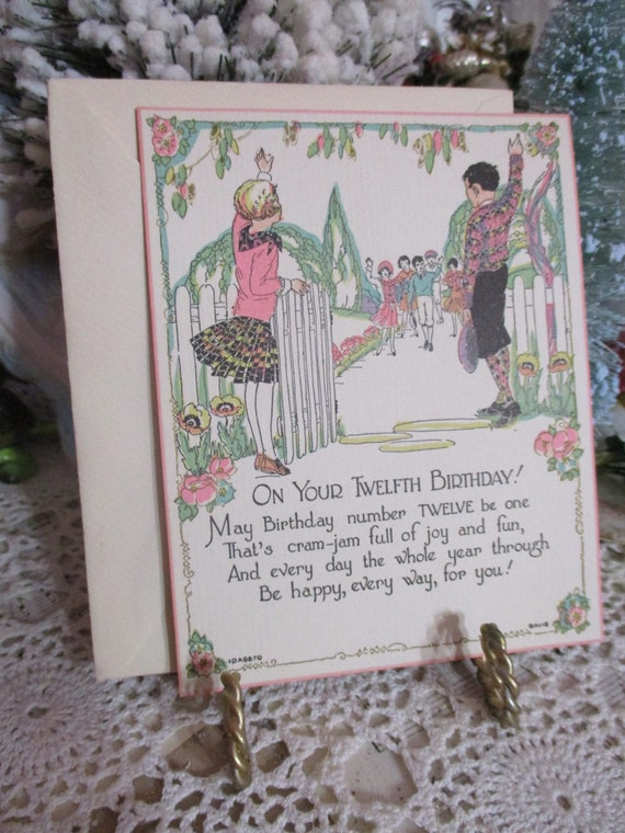 Antique Greeting Card 1930s Birthday Childrens Twelve