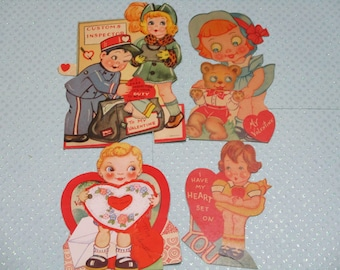 Vintage Childrens Valentine Day Cards Lot-Ephemera-Mixed Media-Paper-Crafts-Scrap Booking-Victorian-1930's