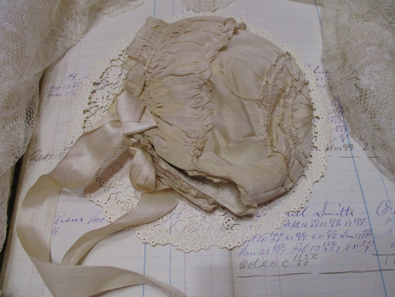 Vintage Silk Smocked Baby Bonnet-Victorian-Embroi… - image 3