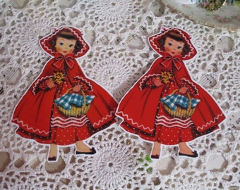 Jumbo Sweet Little Red Riding hood Tags-with Ribbon Ties-Set of 2 Jumbo-ATC-Die Cuts