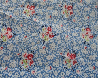 Vintage Blue Floral Feedsack Fabric