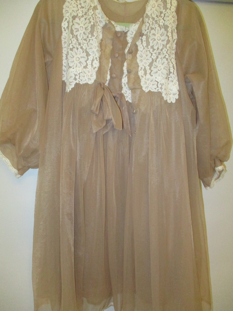 Vintage Lingerie Baby Doll Peignoir Set-Cocoa and Cream-Gossard Artemis Nylon Sheer-Sweep-Nightgown and Robe-sz 34-36-Wedding Trousseau