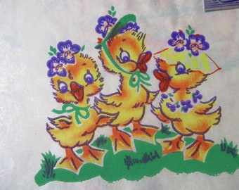Vintage Dennison Gift Wrap-Wrapping Paper-Easter-Ducks-Cute-Retro-Mid Century-Full Sheet-Wrapping Paper