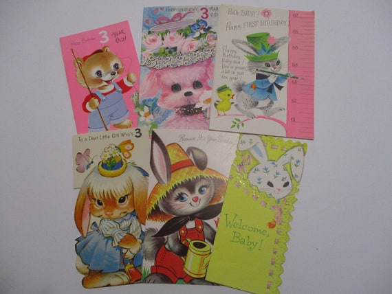 Vintage Greeting Cards-BIG EYE Animals-Die Cuts-Used and Unused