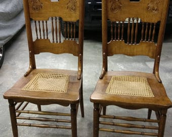 Two antique light oak cane bottom chairs & Antique oak chairs | Etsy