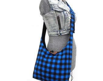 Buffalo Plaid Bag - Crossbody Hobo Bag - Crossbody Bag - Sling Bag for Women - Vegan Bag - Vegan Purse - Blue Plaid Bag - Hobo Shoulder Bag