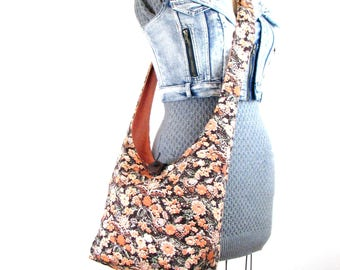 Sling Bag for Women - Hobo Bag - Over the Shoulder Purse - Crossbody Bag - Orange Purse - Across the Body Bag - Slouch Bag - Floral Bag