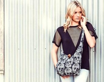 Skull Bag - Over the Shoulder Bag - Cross Body Bag - Slouchy Hobo Bag - Vegan Bag- Sling Bag for Women- Cross Body Purse for Women- Boho Bag