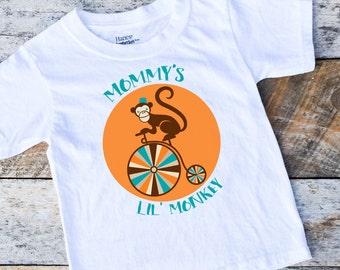 Baby Boy Shirt Onesies®, Mommy's Lil' Monkey Onesie Shirt, Circus Monkey Shirt, Lil' Monkey Shirt, Animal Boy Clothing, Circus Monkey, Shirt