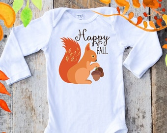 NEW Happy Fall Onesies®, Squirrel Onesie, Fall Woodland Onesie, Thanksgiving Onesie, Graphic Onesie, Fall Baby, Cute Baby Clothes, Photo