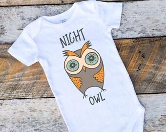 Baby Boy Onesies®, Night Owl Onesie, Woodland Onesie, Woodland Clothing, Owl Bodysuit, Owl Baby, Baby Boy Clothing, Onesies for Boys, Owl