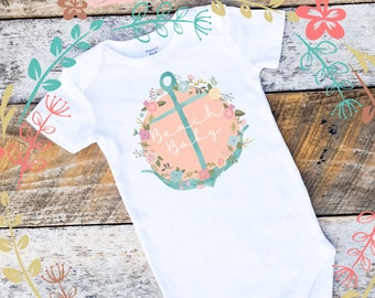 NEW Beach Baby Onesies®, Baby Girl Onesie, Beach Onesie, Anchor  Onesie, Shabby Chic Baby, Nautical Baby Clothes, Toddler Shirt, Onesies®