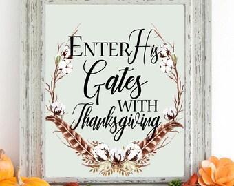 Enter His Gates With Thanksgiving Digital Art, Fall Wreath Digital Art, Instant Download, Autumn Art, Fall Art, 8 x 10 Digital, Thanksgiving
