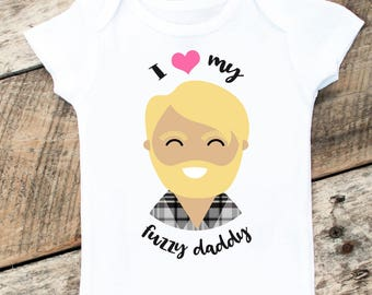 Father's Day Onesie, I Love My Fuzzy Daddy Onesies®, Daddy's Beard Onesie, Baby Girl Onesie, Daddy and Daughter, New Dad, Baby Girl Clothes