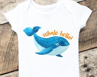 NEW Whale Hello Onesies®, Baby Boy Whale Onesie, Beach Baby Clothes, Beach Boy Onesie, Sea Animals Onesie, Whale Hello Shirt, Newborn Outfit
