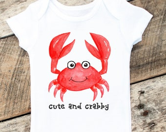 NEW Cute And Crabby Beach Onesies®, Baby Boy Crab Onesie, Beach Baby Clothes, Beach Boy Onesie, Sea Animals Onesie, Cute and Crabby Shirt
