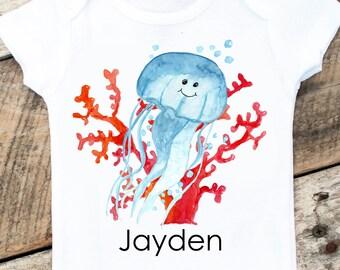 NEW Personalized Jellyfish Onesies®, Baby Boy Beach Onesie, Personalized Baby Clothes, Graphic Onesie, Sea Animals Onesie, Jellyfish Shirt