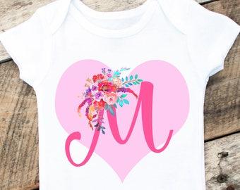 Baby Girl Valentine Onesies®, Valentine Monogram Onesie, Personalized Valentine Onesie, Heart Onesie, Baby Girl Valentine Shirt, Love Onesie