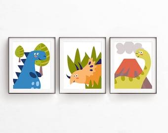 Nursery Print Set of 3, Dinosaur Prints, Dino Prints, Baby Boy Nursery Prints, 8x10 Digital Prints, Nursery Wall Decor, Baby Boy, Instant