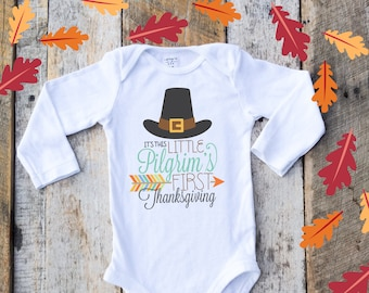 Little Pilgrim Onesies®, First Thanksgiving Onesie, Fall Onesie, Baby's 1st Thanksgiving Onesie, Autumn Onesie, Fall Baby, Baby Boy Fall