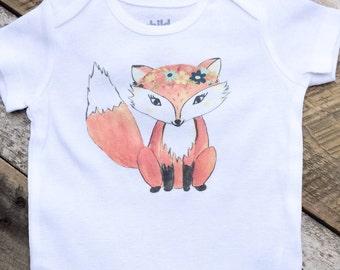 NEW Girl Fox Onesies®, Baby Girl Onesie, Fox Onesie, Woodland Onesie, Graphic Onesie, Shabby Chic Baby, Cute Baby Clothes, Baby Outfit, Prop