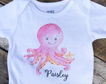 NEW Personalized Octopus Onesies® or Shirt, Custom Personalized Onesie, Sea Animals Onesie, Star Fish Onesie, Beach Onesie, Ocean Onesie