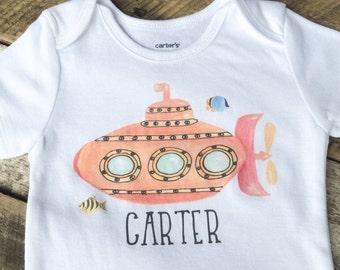 NEW Personalized Submarine Onesies®, Baby Boy Onesie, Personalized Baby Clothes, Graphic Onesie, Nautical Onesie, Nautical Toddler Shirt
