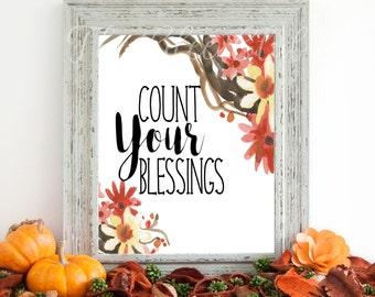 Count Your Blessings Digital Art, Fall Digital Print, Instant Download, Autumn Art, Fall Digital Art, 8 x 10 Digital Print, Floral Digital