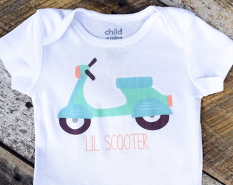 NEW 'LIL SCOOTER Onesies®, Baby Boy Onesie, Moped Onesie, Adventure Onesie, Graphic Onesie, Baby Singlet, Travel Onesie, Cute Baby Clothes
