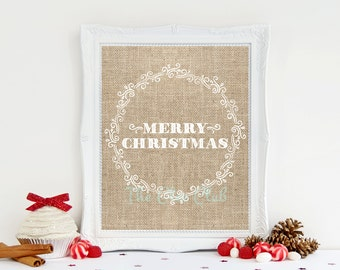 Christmas Burlap Digital Print, Merry Christmas, Holiday Printable, Instant Download, 8 x 10 Digital, Burlap Print, Shabby Chic Christmas