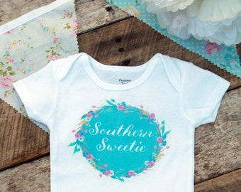 NEW Southern Sweetie Onesies®, Baby Girl Onesie, Southern Girl Clothes, Graphic Onesie, Shabby Chic Baby, Cute Baby Clothes, Baby Outfit